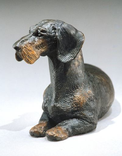 miniature bronze Dachshund sculpture