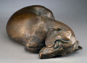 fine bronze sculpture of canines and figurative subject matter by Joy Beckner bronze sculptor