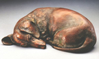 fine bronze Dachshund sculpture by Joy Beckner