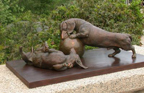 dogs in bronze by Joy Beckner