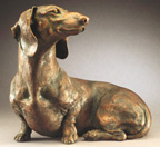 bronze Dachshund sculpture