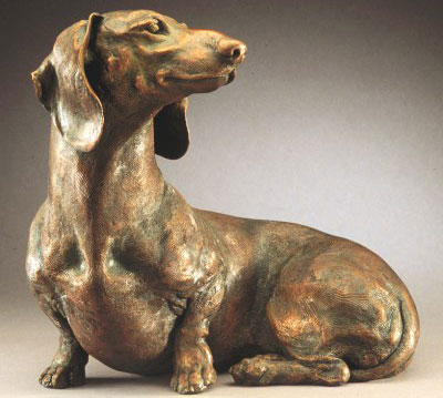 bronze dachshund sculpture by Joy Beckner