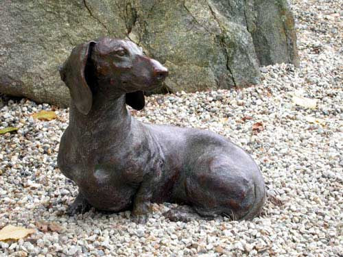 bronze canine sculpture